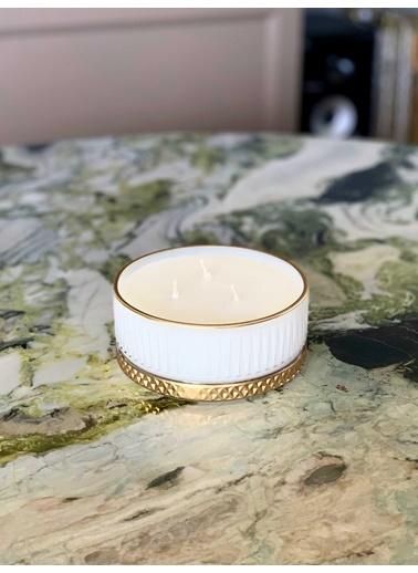The Mia Cam İçi Dolu Mumluk - Beyaz Gold 5 X 13 Cm Renkli